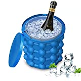 BASONG Large Silicone Ice Bucket with Lid, Beverage Cooler, Portable Ice Maker Great for Indoor, Outdoor Refrigerator, Cocktail Party and Picnics Beach Outdoor