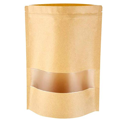 Emoly Upgraded 100 Pcs Stand Up Kraft Paper Bag, Reusable Zip Lock Sealing with Notch Matte Transparent Window Bags, All Purpose Storing Food Storage (5.5' x 7.8')