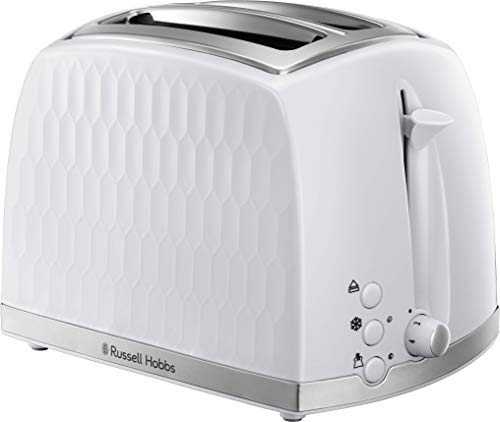 Russell Hobbs 26060 2 Slice Toaster - Contemporary Honeycomb Design with Extra Wide Slots and High Lift Feature, White