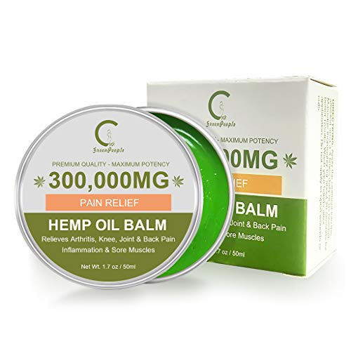 GPGP GreenPeople CBD Natural Hemp Extract Pain Relief Cream - 300,000MG - Hemp Healing Ointment for The Back, Knees, Hands, Neck, feet, Soreness, Inflammation, Joints - Hemp Balm - 1.7oz