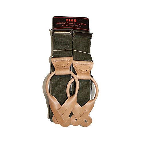 Eiko Hosenträger mit Lederbiesen zum Knöpfen, Oliv grün, 110 cm