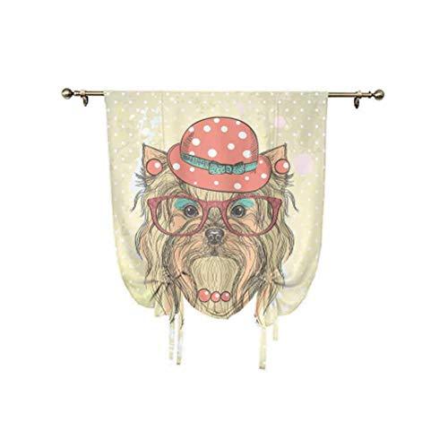 Yorkie - Cortina pequeña para ventana, diseño de perro adorable con pendientes, collar, gafas, sombrero, cortina de globo, 76 x 108 cm, para ventana pequeña/cocina, color marrón coral