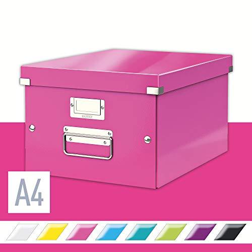 Leitz, Mittelgroße Aufbewahrungs- und Transportbox, Pink, Mit Deckel, Für A4, Click & Store, 60440023