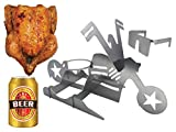 Merica Biker Beer CAN Chicken Holder for Grill | Whole Chicken Roaster Stand | Grill Tool | Beer CAN Chicken | Roasting Rack with Gift Glasses for Chicken | BBQ Tools Grill | BBQ Accessories