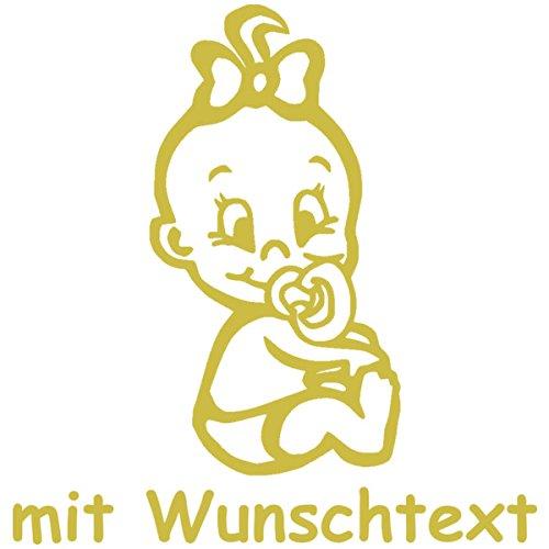 Babyaufkleber mit Name/Wunschtext - Motiv 717 (16 cm) - 20 Farben und 11 Schriftarten wählbar