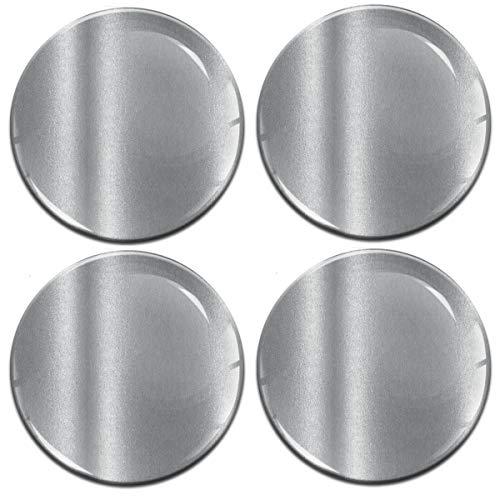 Biomar Labs 4 x 60mm Universal Adhesivo Pegatinas para Tapas de Rueda de Centro Tapacubos para Coche Color Plata Silver A 9760