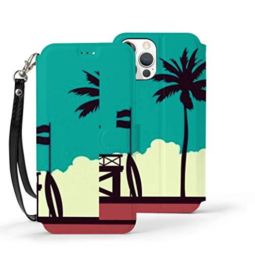Iphone12 Pro MAX Wallet Case 6.1 Pulgadas Estación de Salvavidas en la Playa Palm Sunset Iphone12 Pro MAX Case Wallet Case Stitch Lindo Cierre magnético Folio Flip Cover con Soporte Característica P