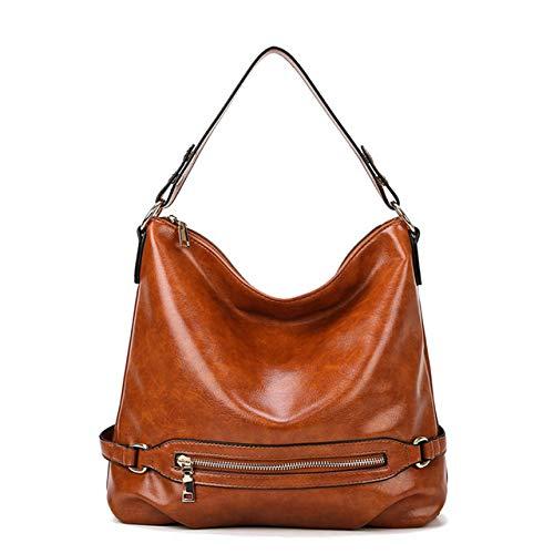 Damen Handtasche aus gewachstem Leder, Retro, Umhängetasche für Frauen, braun (Braun) - 101jhgj