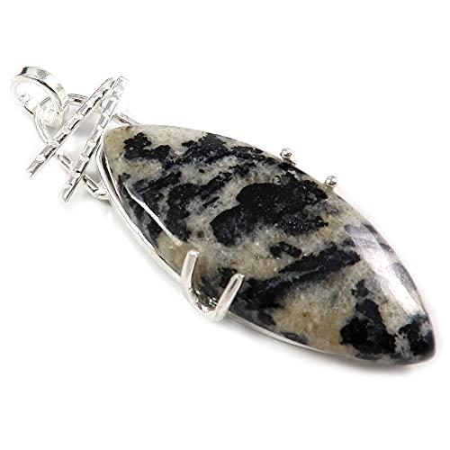 Goyal Craft GPCC44 - Colgante de piedra preciosa natural de jaspe de cebra negra