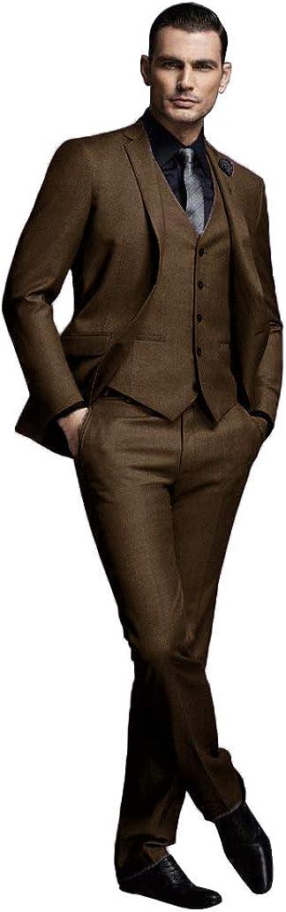 Onlylover Grey Men Suit 3 Piece Formal Tuxedo Prom Groom Slim Fit Business Blazer