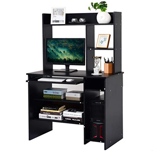 Tangkula Computer Desk, Computer Workstation with Storage Bookcase, Study Writing Home Office Desk with Hutch/Keyboard Tray, Modern Wood Multipurpose Desk (Black with Shelves)