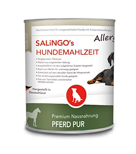 SALiNGO Premium Hundefutter nass Pferd PUR | Nassfutter für Hunde | getreidefrei | hoher Fleischanteil | hypoallergen | Barf Dosen