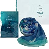 Smiling Wisdom - With God, All Things Are Possible Greeting Card Gift Set - Navy and Aqua Scarf - Sympathy Grief Supportive Uplifting Consoling - For Her Woman Friend - Aqua Blue Teal