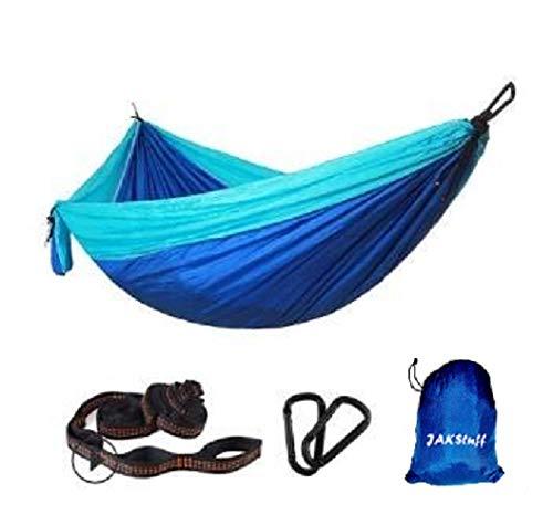 JAKStuff Hammock Single – Portable Hammocks Light Weight – Tree Straps & Carabiners - Mosquito Net – 210T Parachute Nylon...