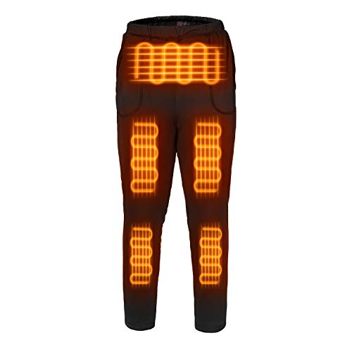 FERNIDA Electric Heated Thermal Trouser Outdoor Exercise Heating Warm Pants for Women/Men/Senior(Battery Included) Black