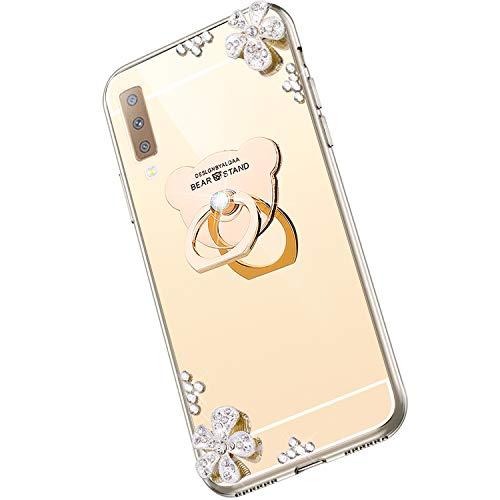 Saceebe kompatibel für Galaxy A7 2018/A750 Hülle Silikon TPU,Diamant Strass Blume Glitzer Kristall Überzug TPU Silikon Handyhülle mit Bear Ring Kickstand Schutzhülle Etui Weich stoßfest,Gold