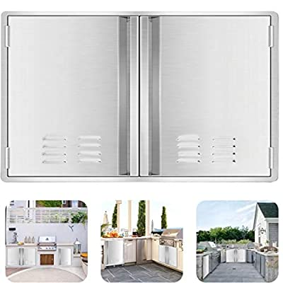 """Marada Outdoor Kitchen Doors,304 Stainless Steel Access BBQ Doors with Vents All Brushed Stainless Steel Flush Mount Double Wall Door for BBQ Island & Grill,Outdoor Kitchen(28"""" W x 19"""" H)"""