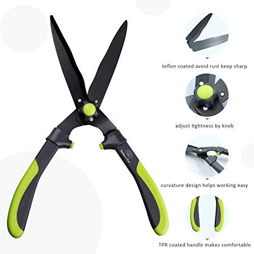Rainbow Craft Ergonomic TPR Handle 17'' Hedge Shear, Bush Clipper - Light Green Color