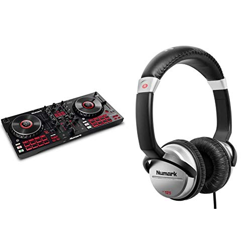 Numark Mixtrack Platinum FX + Numark HF125 – DJ-Controller für Serato DJ mit 4-Deck Kontrolle + professioneller DJ Kopfhörer mit 2m Kabel und 40 mm Lautsprechern