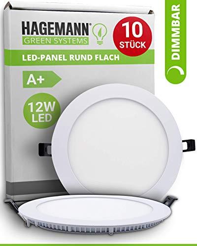 HAGEMANN® 10 x LED Panel rund dimmbar 12 Watt 900lm – Ø 155mm Bohrloch – flach 230V LED Deckenleuchte