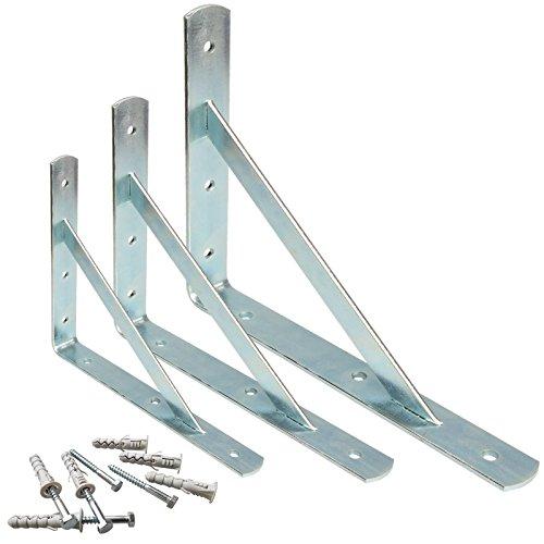 PRIOstahl® Schwerlastträger verzinkt | REGALTRÄGER mit SCHRAUBEN & DÜBEL | 200 x 300 mm | Winkelträger Metall | Schwerlastkonsolel | Regalwinkel | Regalhalter (4 Stück)
