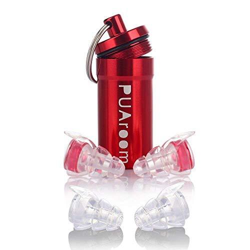 PUAroom Protección Auditiva Tapones para los oídos,2 pares de auriculares de silicona reutilizables con soporte de aluminio, ideal para músicos, concierto, festival, club, batería, DJ(Rojo)