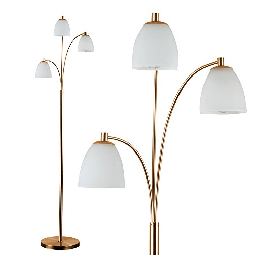 Modern Designer Style 3 Way Polished Copper Floor Lamp with White Frosted Glass Dome Shades - Complete with 4w LED Filament Bulbs [2700K Warm White]