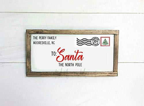 St234tyet Carta a Papá Noel, letra del Polo Norte, cartel de Papá Noel, cartel de familia, decoración de Navidad, cartel de madera rústica, cartel de Navidad, Papá Noel