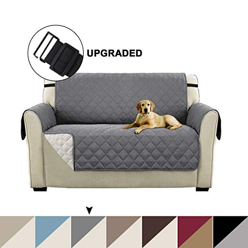 Reversible Couch Cover For Dogs Quilted Sofa Cover For Living Room Loveseat Protector with Elastic Straps Seat Width Up to 46' Quilted Furniture Cover For Small Couch (Loveseat - Gray/Beige)