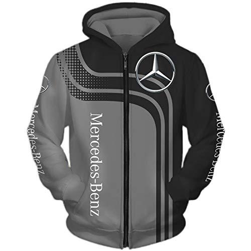 SPONYBORTY Herren Hooded Jacke,Hoodie,T-Shirt Mercedes-Benz 3D Drucken Leicht Sweatshirt Unisex Beiläufig Sportkleidung Mantel/A/XXXL