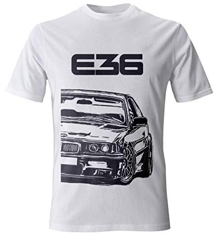 E36 M3 3 Series Herren Grunge T-Shirt Kustom Design (XL, Weiß)