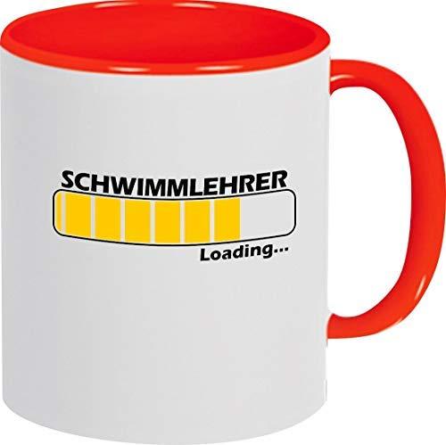 Shirtinstyle Tasse Kaffee Pott Loading SCHWIMMLEHRER Ausbildung Abschluss Job Kollegen, Spruch Sprüche, Teetasse, Kaffeepott, Farbe Rot