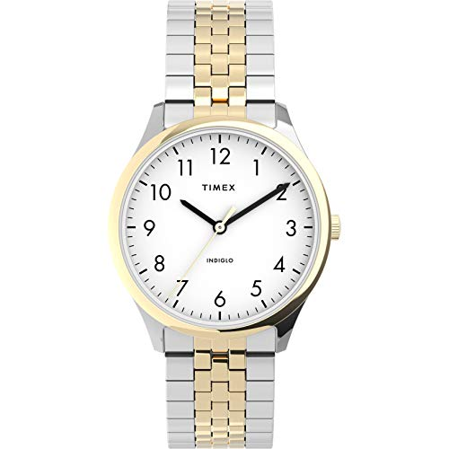 Timex Women's Modern Easy Reader 32mm Watch – Two-Tone Case White Dial with Expansion Band