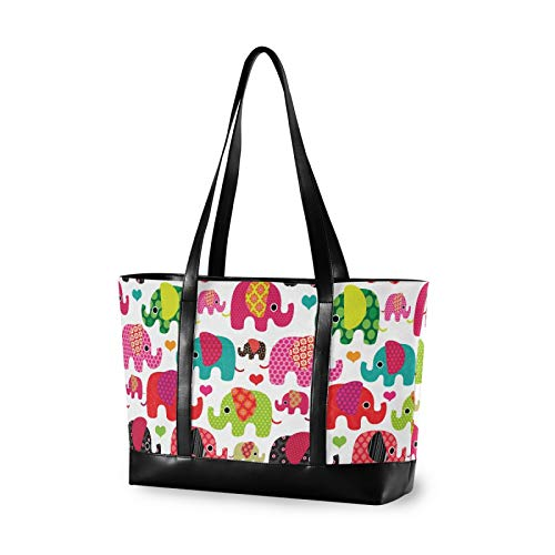 Large Woman Laptop Tote Bag - Colorful Elephant Flower Heart Canvas Shoulder Tote Bag Fit 15.6 Inch Computer Ladies Briefcase for Work School Hiking