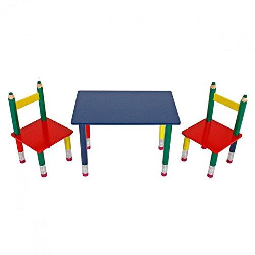 Mojawo Schöne 3-teilige Sitzgarnitur Bleistift für Kinder Tisch + Zwei Stühle Mehrfarbig aus Massivholz