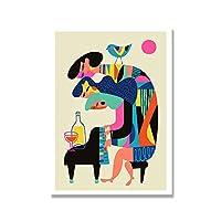 ピアニストポスターミッドセンチュリー抽象幾何学壁アートパネル絵画インテリアカラフル帆布版画モダン写真スカンジナビア寝室装飾40x60cmいいえフレーム