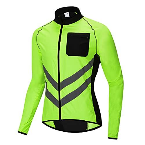 Beylore Waterproof Cycling Jacket Mens Women Reflective Running Jacket Cycle Jacket Breathable High Visibility MTB Jersey Rain Coat for Outdoor MTB Cycling Running,Green,3XL