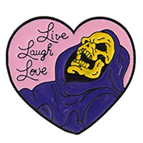 YRFZ Broschen & Anstecknadeln Für Damen Cartoon Gothic Dark Heart Form Schädel Kopf Broschen Mantel Emaille Abzeichen Broschen Anstecknadeln Halloween Skeleton Wizard Hexe Geschenke