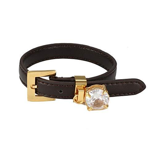 Pulsera de Cuero para Mujer Hombre CZ Pulsera Ajustable Reloj Cinturón Pulsera Marca de Lujo Mujer Hombre Deporte Joyería Regalo CN Deepblue