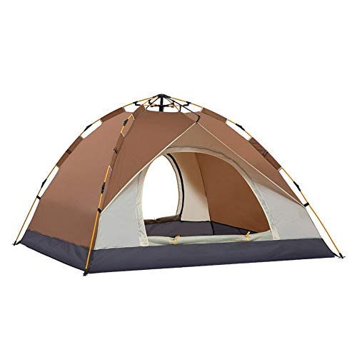 Tents Tent Package Combination Tent Home Portable Camping Rainproof Tent Couple Travel Tent Mountain Camping Supplies for Outdoor and Hiking Traveling (Color : Coffee, Size : 3-4 persons)