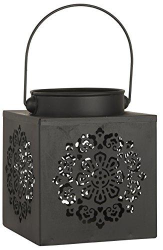 IB Laursen 9050-25 lantaarn rechthoekig patroon gestanst, stompkaars, van metaal in zwart, afmetingen 14 x 17 x 14 cm, ideaal voor balkon, terras en tuin