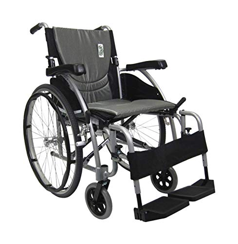 Karman Healthcare S-Ergo 115 18' Seat Width, Ultra Lightweight Ergonomic Wheelchair, Quick Release Wheels - 25 lbs in Pearl Silver