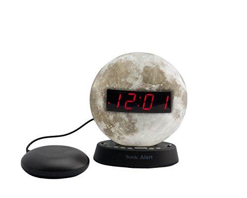 Sonic Alert Extra-Loud Dual Alarm Clock Moon - SBW100MOSS | Recordable Alarm w Vibrating Alarm Clock Heavy Sleepers, Battery Backup | Wake with a Shake