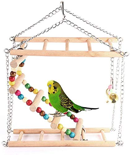 HEEPDD Huisdier opknoping Ladder Houten Suspension Brug Trappen Trappen Klimmen Swing Dubbele Laag Speelgoed voor Kleine Vogels Papegaai Parakeet Cockatiel Hamster Cage Decoratieve Accessoires