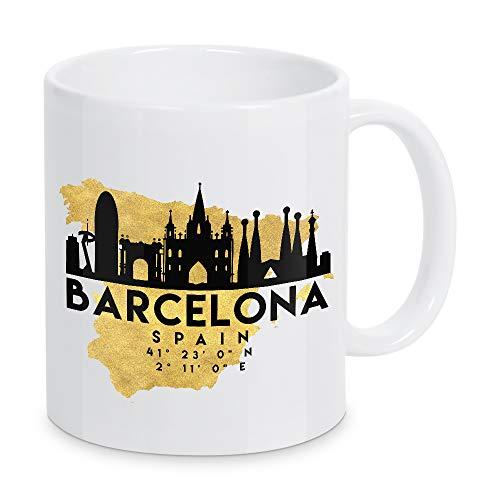 artboxONE Tasse Barcelona Spain Skyline MAP Art von Emiliano Deificus - Kaffeetasse Städte