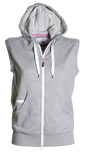 PAYPER Damen Sweatweste mit Reißverschluss und Kapuze, Farbe:Greymelange;Größe:XL