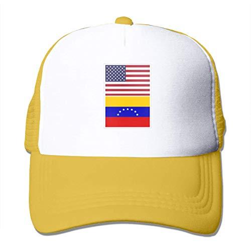 Trucker Cap Bandera Americana Y Bandera De Venezuela Grid Gorra De Béisbol Clásica Regalo Duradero Mujeres Hombre Gorra De Camionero Gorras De Hip-Hop Únicas Impresión Deportiva A