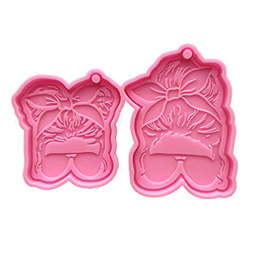 Cityfly DIY Sunglasses Girl Keychain Silicone Epoxy Mold DIY Keychain Pendant Jewelry Crafting Mould for Valentine Love Gift