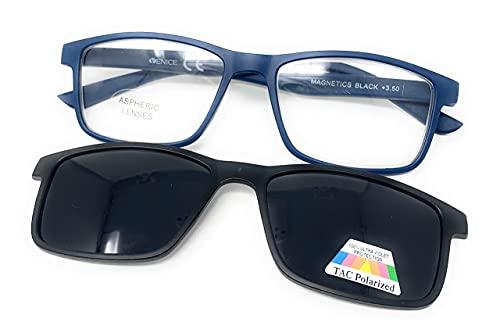 VENICE EYEWEAR OCCHIALI   Gafas de lectura 2 en 1 . SUPLEMENTO POLARIZADO IMAN unisex Venice. Protege tus ojos de la fatiga y del sol.