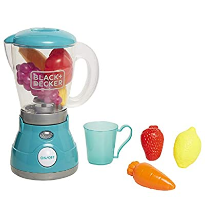 BLACK+DECKER Junior Blender Role Play Pretend Kitchen Appliance for Kids with Realistic Action, Light and Sound - Plus Toy Fruit and Vegetable Foods for Imaginary Cooking Fun